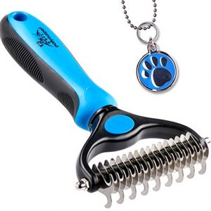 Pet Grooming Tool – 2 Sided Undercoat Rake for Cats & Dogs – Safe Dematting Comb for Easy Mats & Tangles Removing – No More Nasty Shedding and Flying Hair