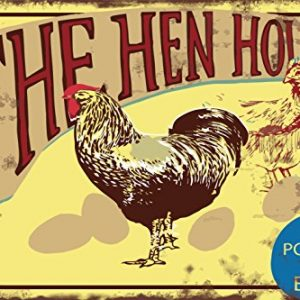 Fluffy Layers The Hen House Poultry & Eggs Metal Tin Sign Vintage-Style for Home Farm Chicken Coop