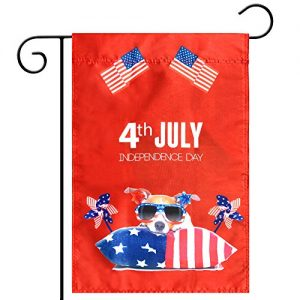 Celebration Parade Flags, July 4th Independence Day National Day USA US American Garden Flags,Anniversary Celebration, National Day Celebration,Double-Sided (American Flag, Windmill, Dog)