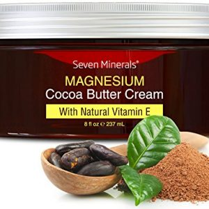 Natural Magnesium Cream for Pain Calm, Leg Cramps, Sleep & Muscle Soreness. With Moisturizing Organic Cocoa Butter and Vitamin E – No Harmful Ingredients. Our USA Made Creme is Safe for Kids (8 fl oz)
