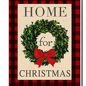 BLKWHT Home for Christmas Boxwood Wreath Small Garden Flag Vertical Double Sided Burlap Yard Outdoor Decor 12.5 x 18 Inches (157692)