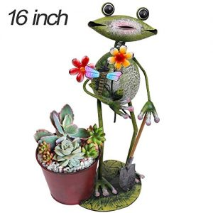 TERESA'S COLLECTIONS 16 inch Metal Frog Garden Statues with Planter, Flower Pots for Outdoor Yard Decorations