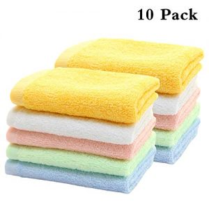 """HOPAI Bamboo Washcloths Luxury Bamboo Towel Set 10 Pack for Bathroom-Hotel-Spa-Kitchen Multi-Purpose Fingertip Towels & Face Bamboo Towels 10"""" x 10′"""