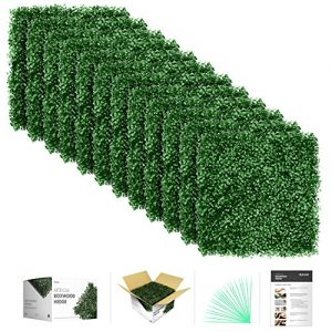 flybold Artificial Boxwood Panels Topiary Hedge Plant UV Protected Privacy Screen Outdoor Indoor Use Garden Fence Backyard Home Decor Greenery Walls Pack of 12 Pieces 20″ x 20″ inch Dark Green