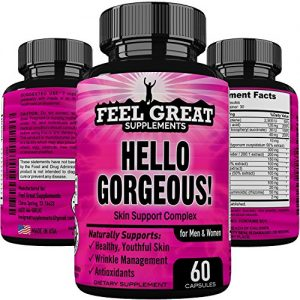 HELLO GORGEOUS Skin Hair and Nails Supplement for Women & Men, Daily Anti Aging Skin Care Product-Healthy Youthful Hair Skin and Nails Vitamins A, Vitamin C, Vitamin E, Collagen…