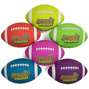 Atomic Athletics 6 Pack of Neon Rubber Playground Footballs – Youth Size 7, 10.5″ Balls with Air Pump and Mesh Storage Bag by K-Roo Sports