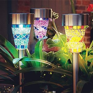 Solar Garden Lights Outdoor – Adecorty Solar Garden Stake Lights 3 Color Solar Path Lights, Landscape Lights for Garden Path Walkway Patio Lawn Outdoor Christmas Halloween Decorations, 3 Pack