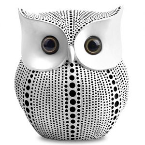Owl Statue Decor (White) Small Crafted Buho Figurines for Home Decor Accents, Living Room Bedroom Office Decoration, Buhos Bookself TV Stand Decor – Animal Sculptures Collection BFF for Owls Lovers