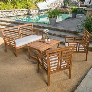 Louis Patio Furniture 4 Piece Outdoor Chat Set   Acacia Wood with a