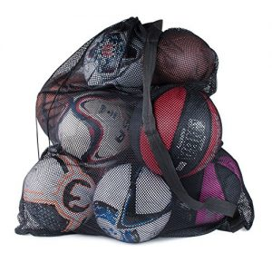 Super Z Outlet Sports Ball Bag Drawstring Mesh – Extra Large Professional Equipment with Shoulder Strap Black (30″ x 40″ Inches)