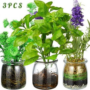 Artificial Green Plant Mini Potted Fake Flower for Bathroom Home Office Decor Set of 3